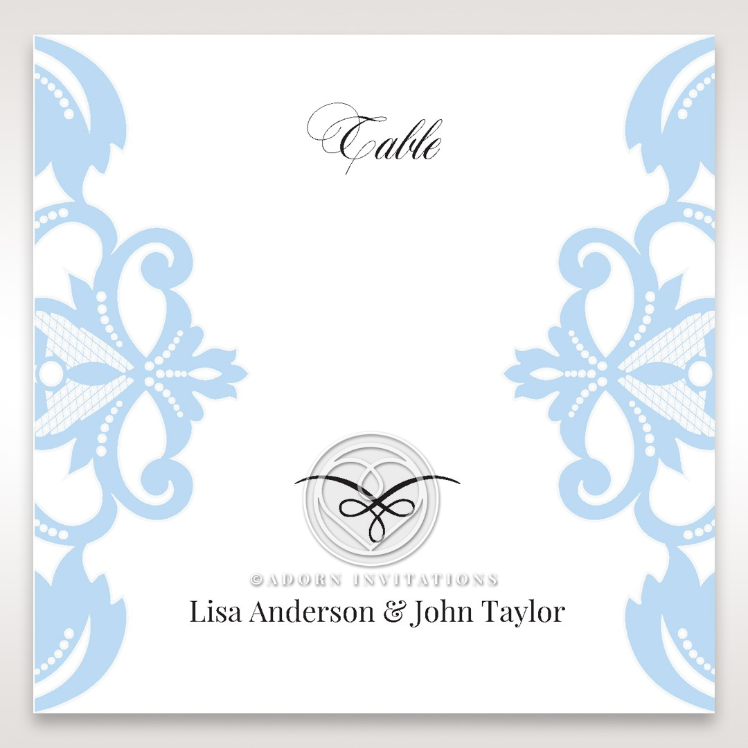 Romantic White Laser Cut Half Pocket wedding venue table number card stationery design