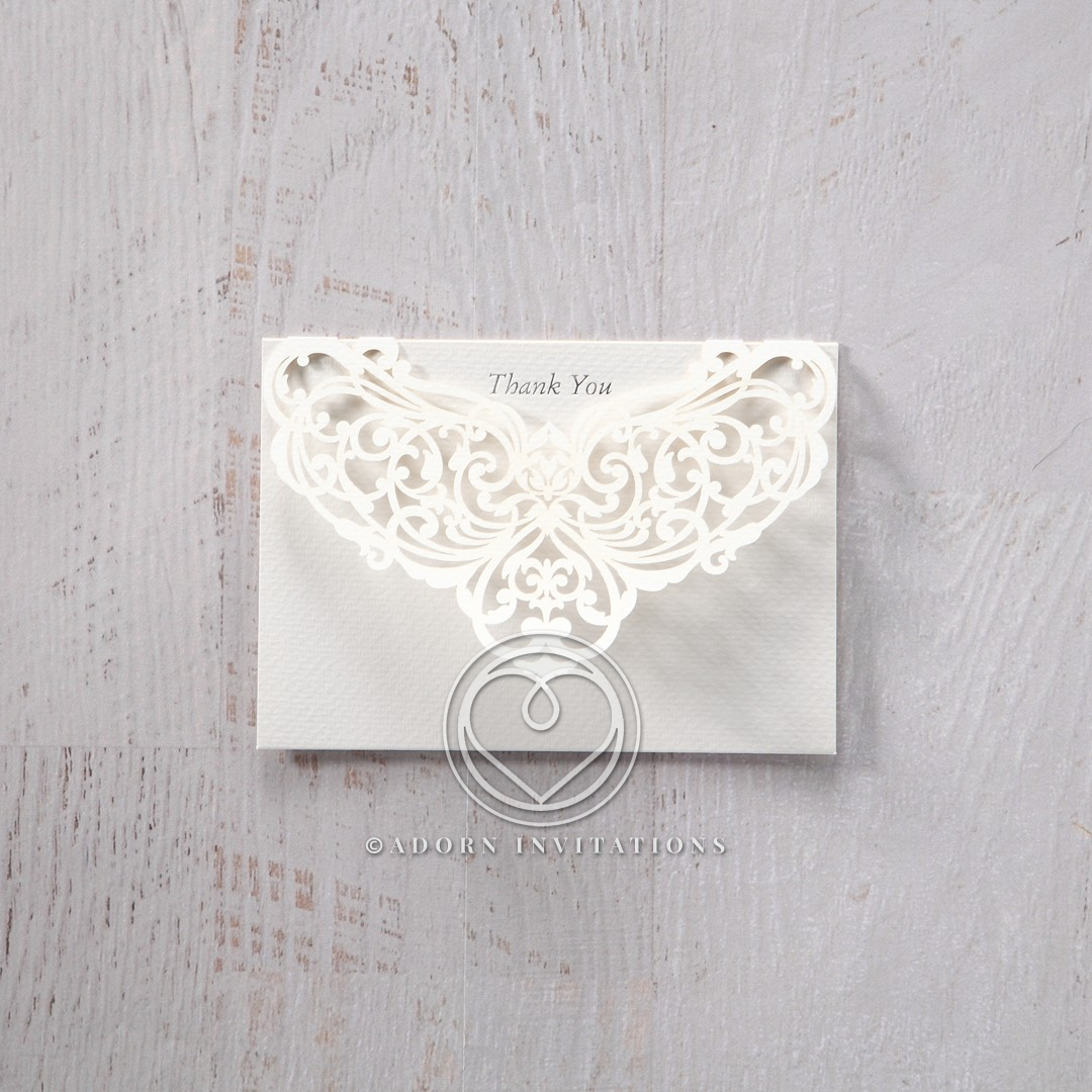 Elegant Crystal Lasercut Pocket thank you wedding card