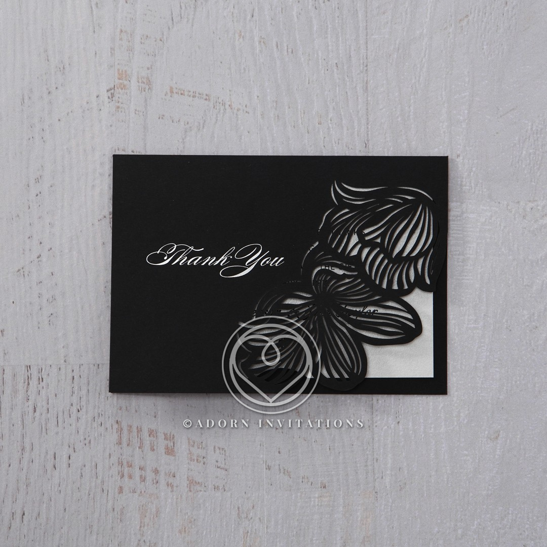 Floral Laser Cut Elegance Black thank you wedding stationery card