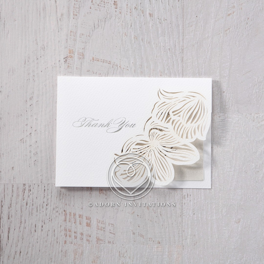 Floral Laser Cut Elegance wedding thank you card