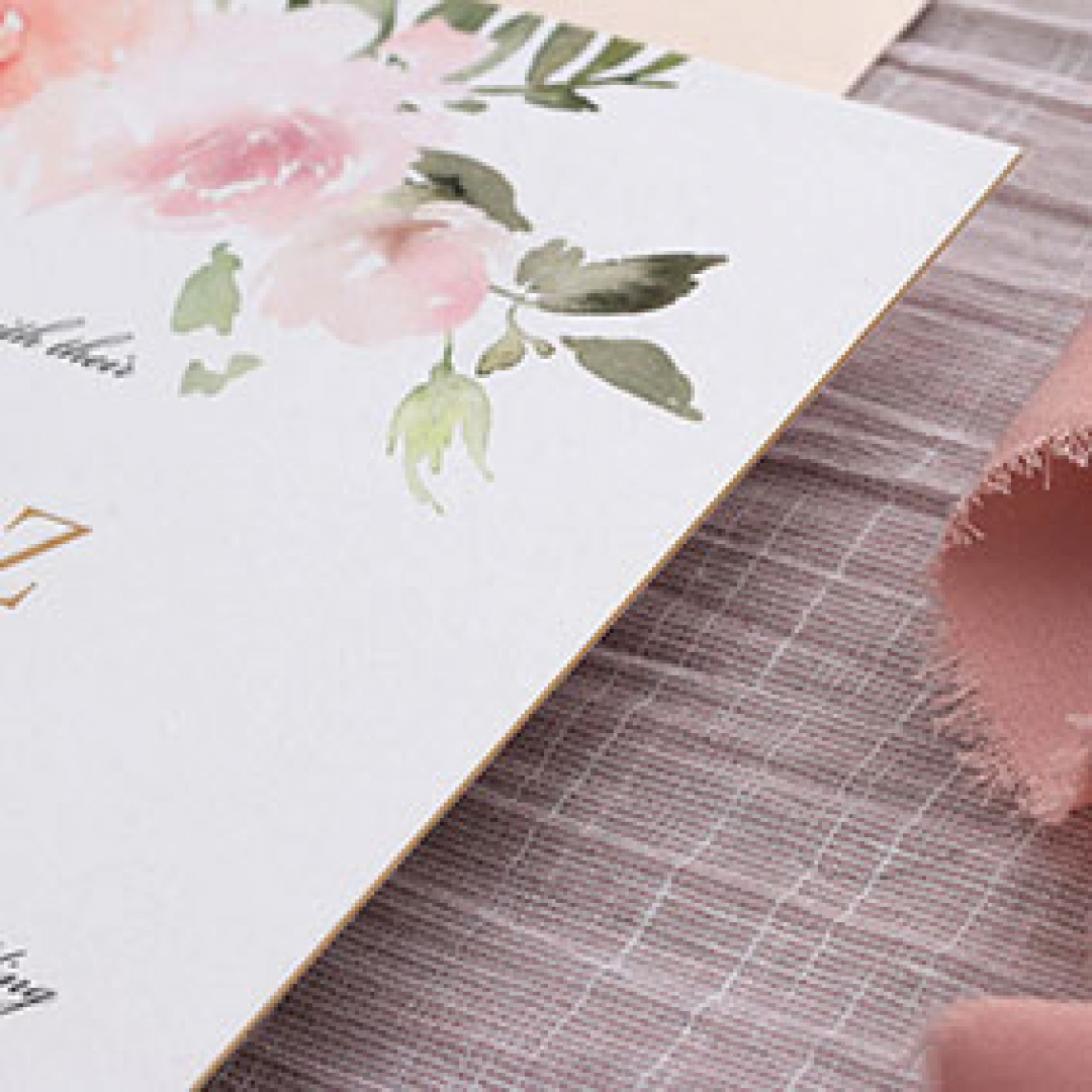 Floral Triplex Invitation with Gold Foil - Wedding Invitations - WP306GG - 183805