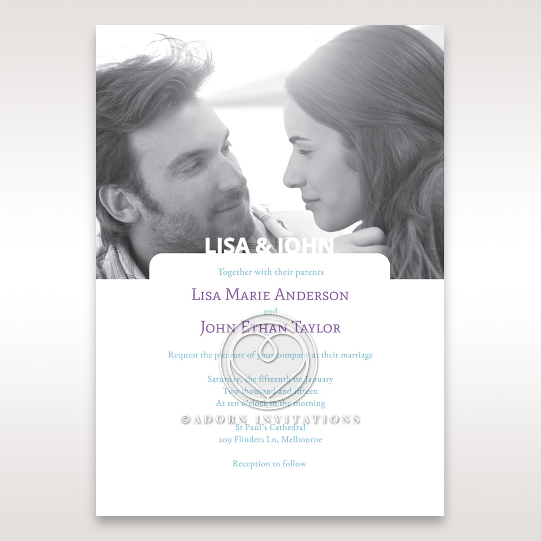 Timeless black and white themed photo invitation in a matte white paper