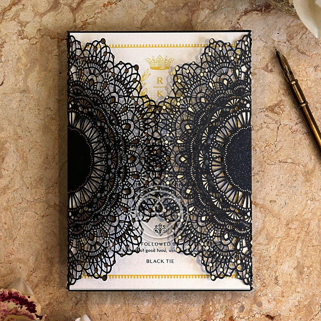 Black Doily Elegance Stationery design