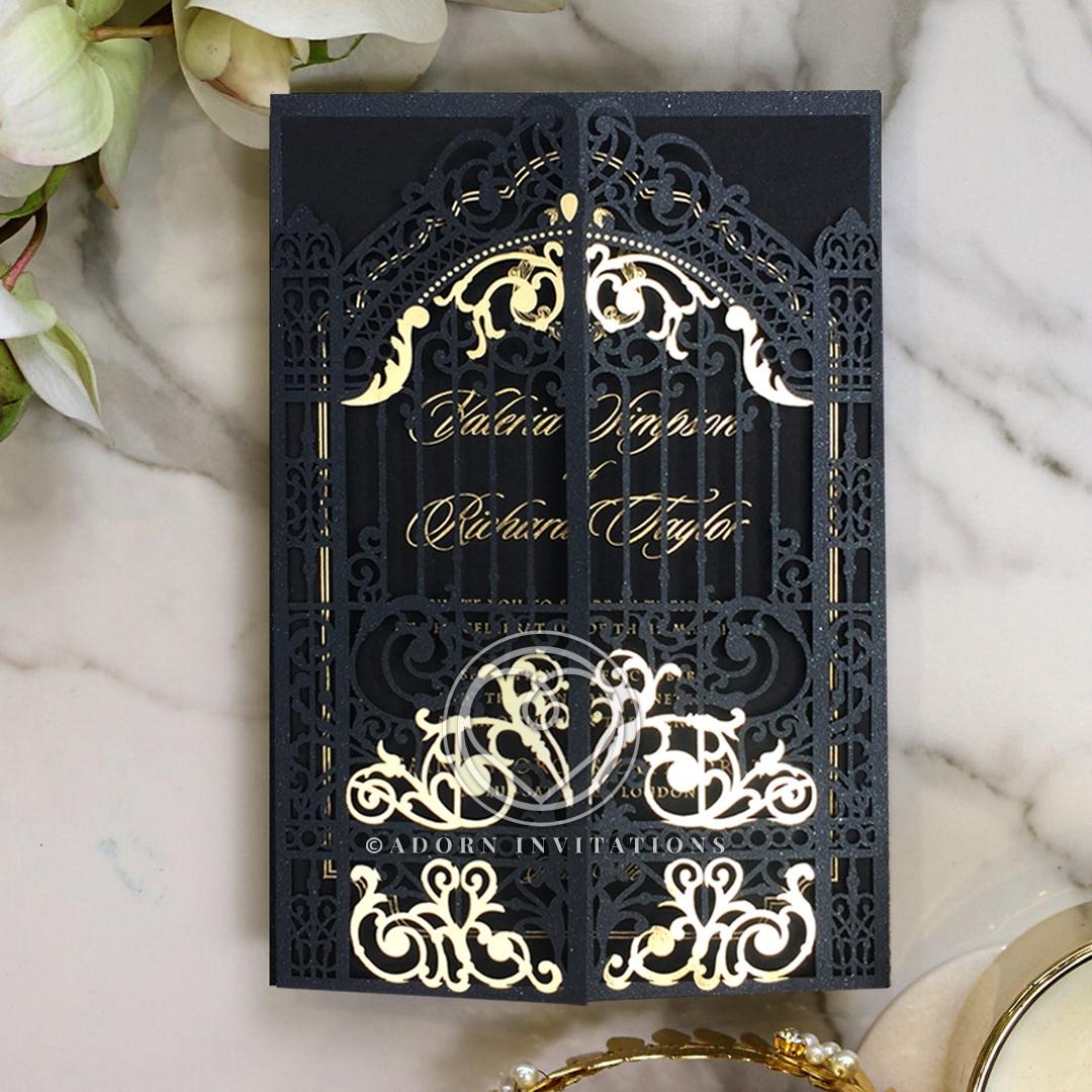 Black Victorian Gates with Foil Wedding Invitation Card