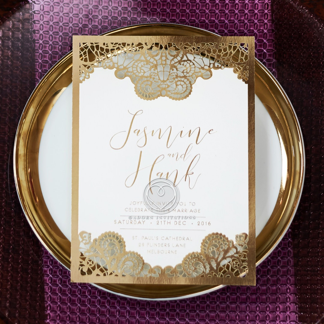 Breathtaking Baroque Foil Laser Cut Invitation Card