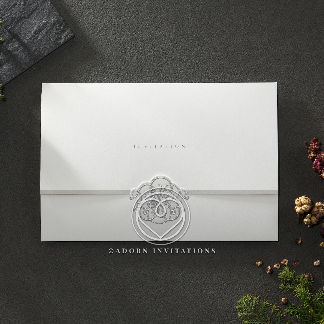 Classic trifold invite with embossed silver monogram