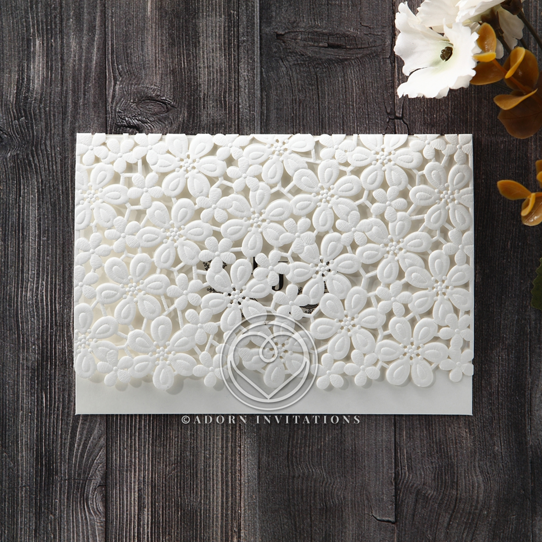Classic white flower patterned lasercut embossed pocket