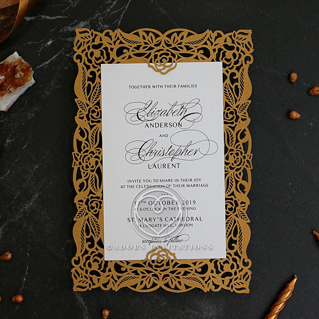 Golden Floral Lux Wedding Invite Card