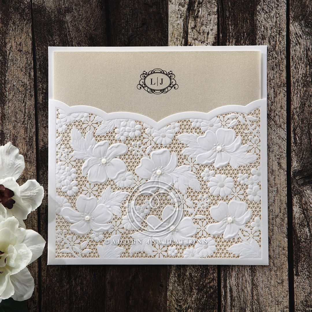 Light gold pearl insert card with white floral laser cut pocket