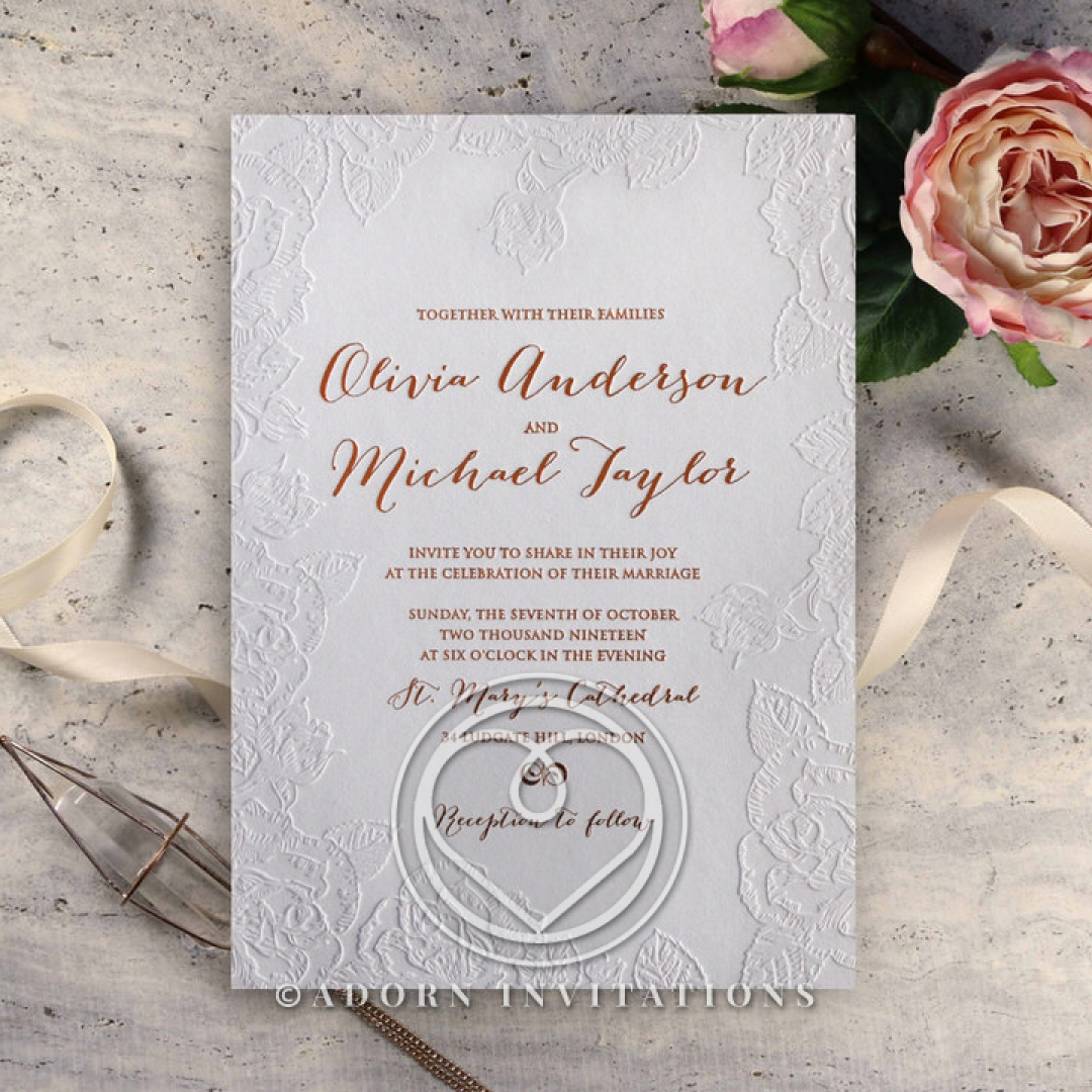 Rose Romance Letterpress Invitation Card