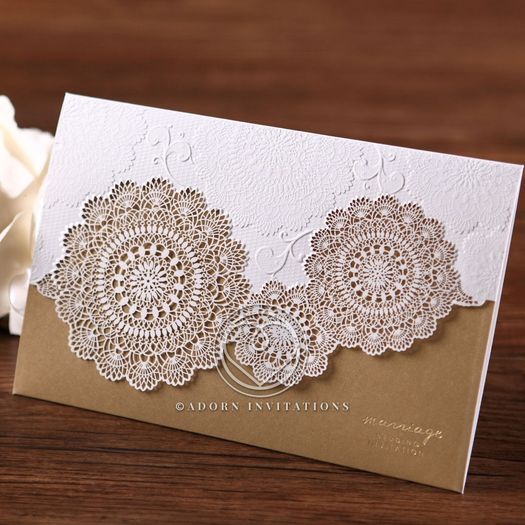 White vintage-themed lace outer card with a dash of gold foil