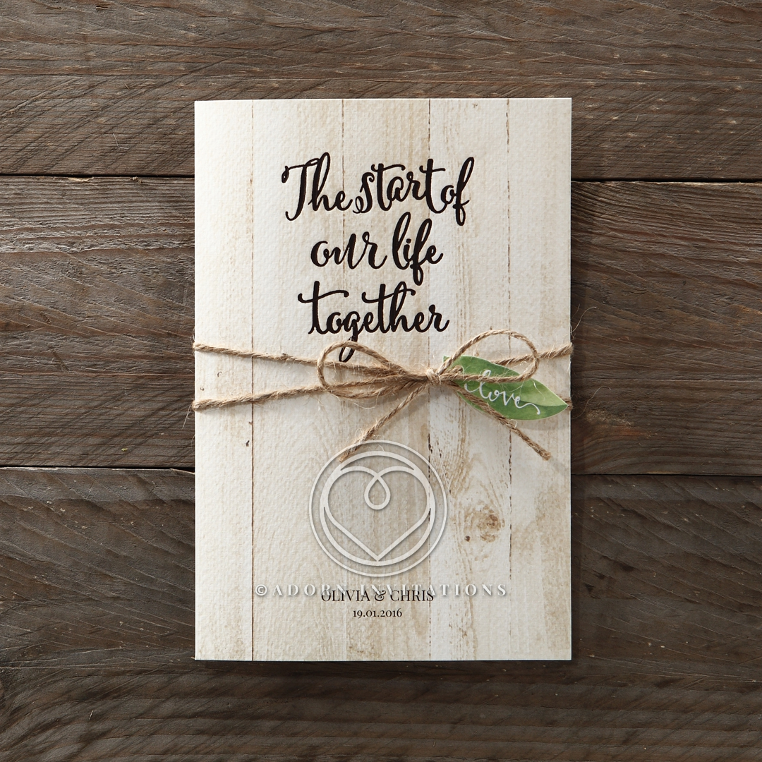 Wood grain texured card with twine