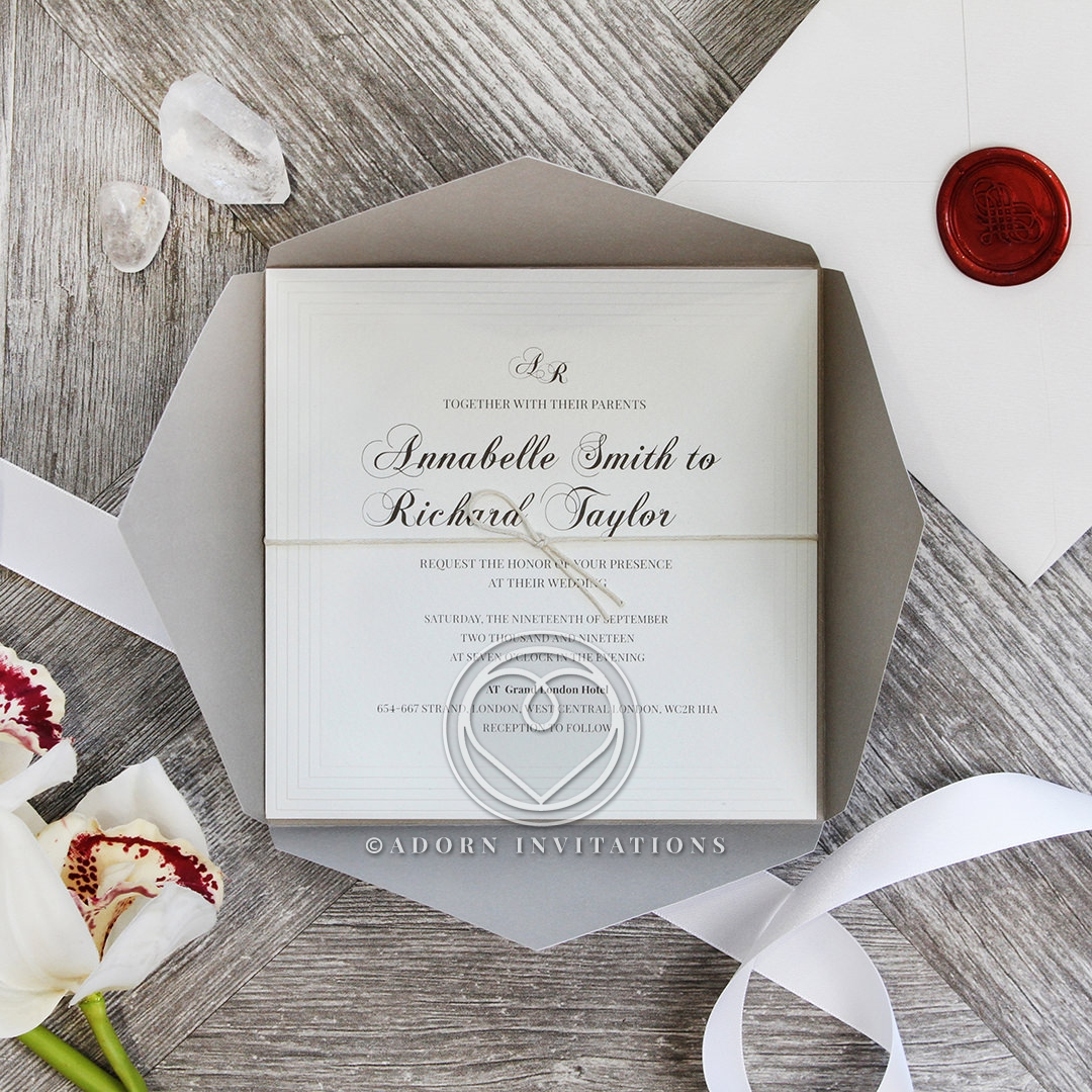 Unique Grey Pocket with Regal Stamp Wedding Invitation Card