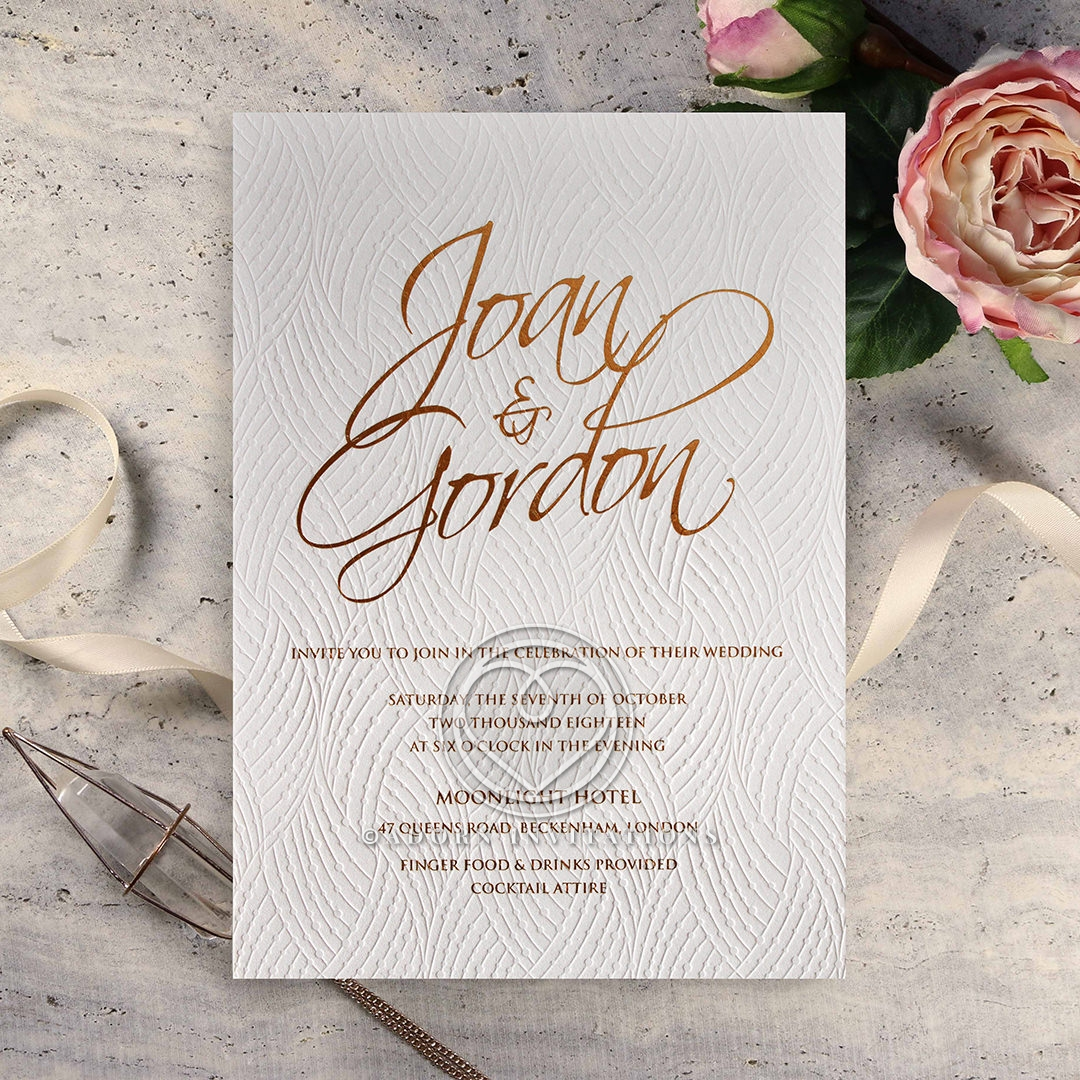 Woven Love Letterpress Wedding Invitation Card