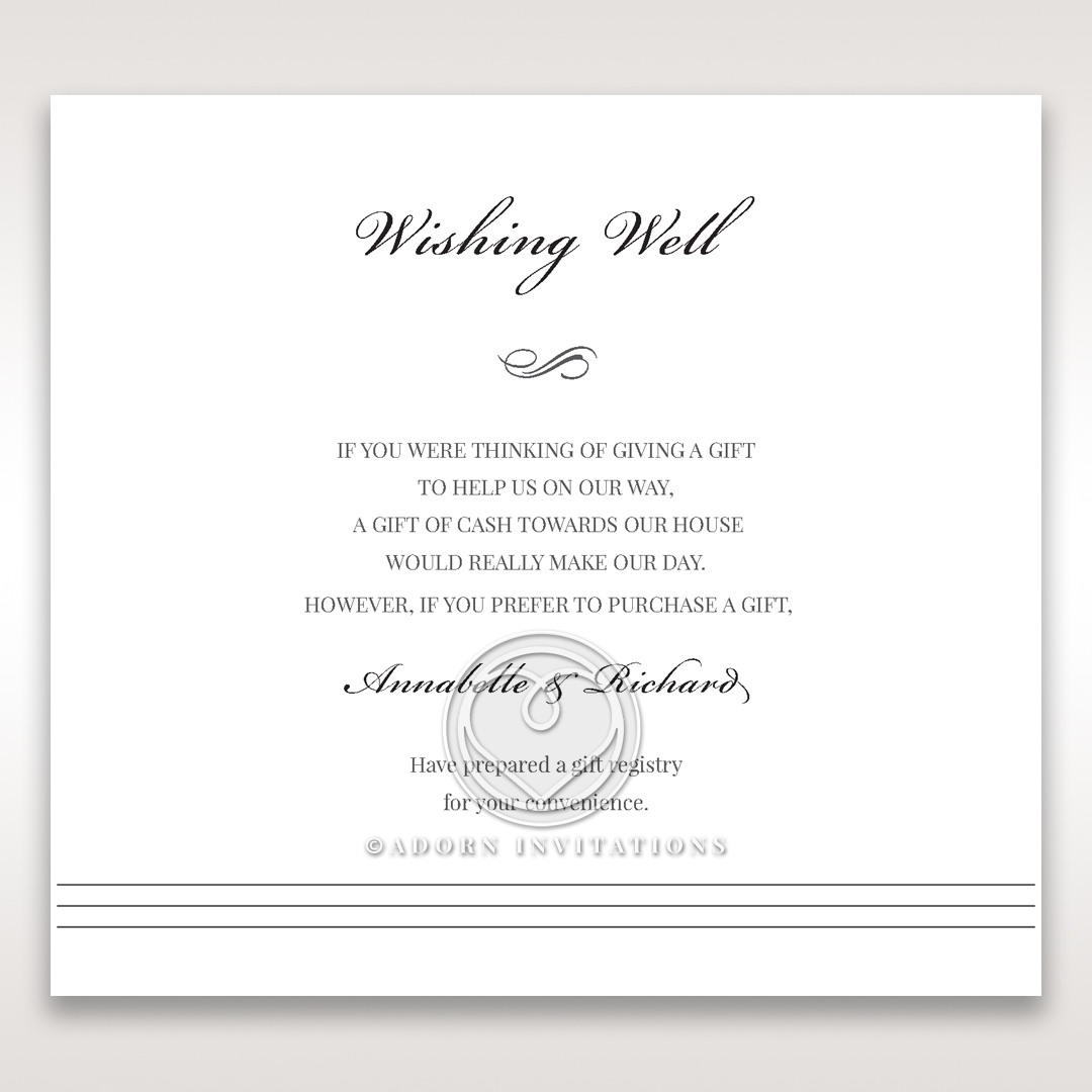 Marital Harmony wedding wishing well enclosure card
