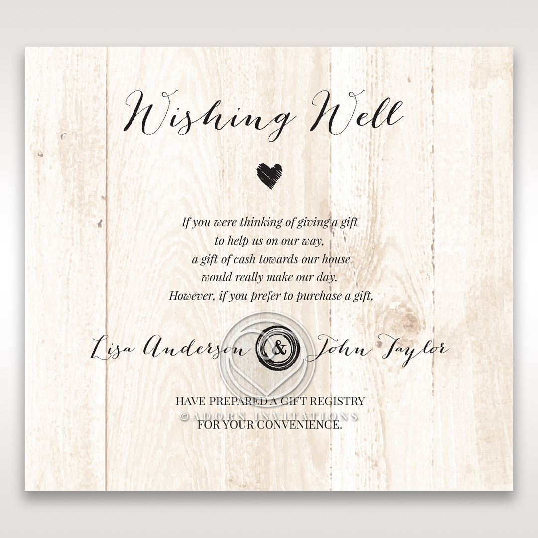 Rustic Woodlands wishing well stationery invite card