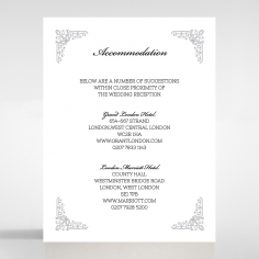 Black on Black Victorian Luxe wedding stationery accommodation card