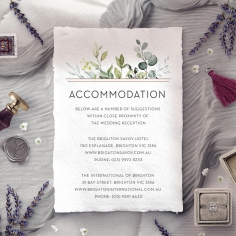 Botanic Romance accommodation enclosure stationery invite card