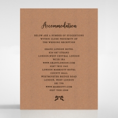 Chic Country Passion wedding accommodation invitation card