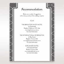 Glitzy Gatsby Foil Stamped Patterns in Gold accommodation invitation card
