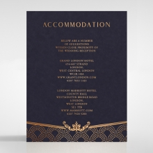 Luxe Victorian wedding accommodation card