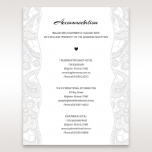 Luxurious Embossing with White Bow wedding stationery accommodation card design