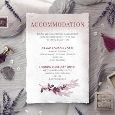 Magenta Wed accommodation enclosure stationery card
