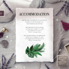 Palm Leaves wedding accommodation invitation