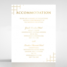 Quilted Letterpress Elegance with foil wedding accommodation invitation card