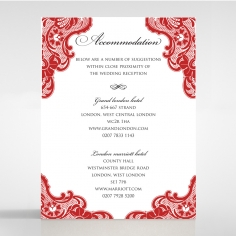 Red Lace Drop wedding accommodation enclosure invite card design