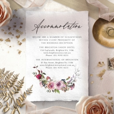 Watercolor Rose Garden wedding stationery accommodation enclosure invite card
