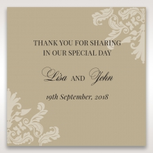 Golden Beauty wedding gift tag stationery design