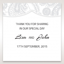 Luxurious Embossing with White Bow wedding gift tag