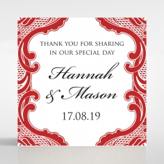 Red Lace Drop wedding stationery gift tag item