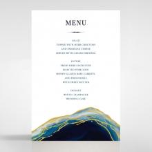Blue Aurora reception table menu card stationery