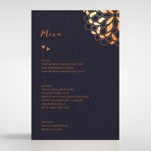 Bohemia wedding venue menu card design