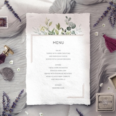Botanic Romance reception menu card stationery design