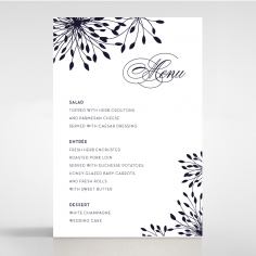 Bursting Bloom reception table menu card design