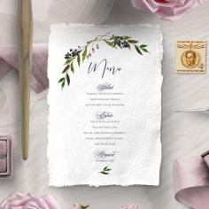 Country Charm wedding menu card stationery design