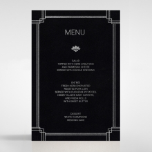 Gilded DecMDence wedding venue menu card stationery