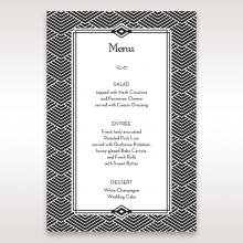 Glitzy Gatsby Foil Stamped Patterns in Gold wedding reception table menu card stationery