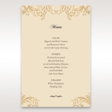 Golden Charisma table menu card