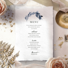 Indigo Round wedding reception table menu card stationery item