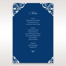 Jewelled Navy Half Pocket wedding table menu card design