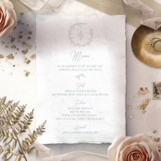 Love Circle wedding reception table menu card stationery design