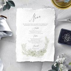 Love Estate reception table menu card stationery design