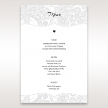 Luxurious Embossing with White Bow wedding menu card stationery