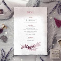 Magenta Wed reception menu card design