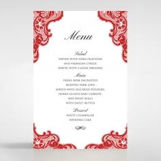 Red Lace Drop table menu card design