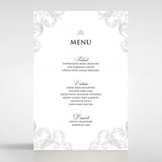 Regally Romantic reception menu card design